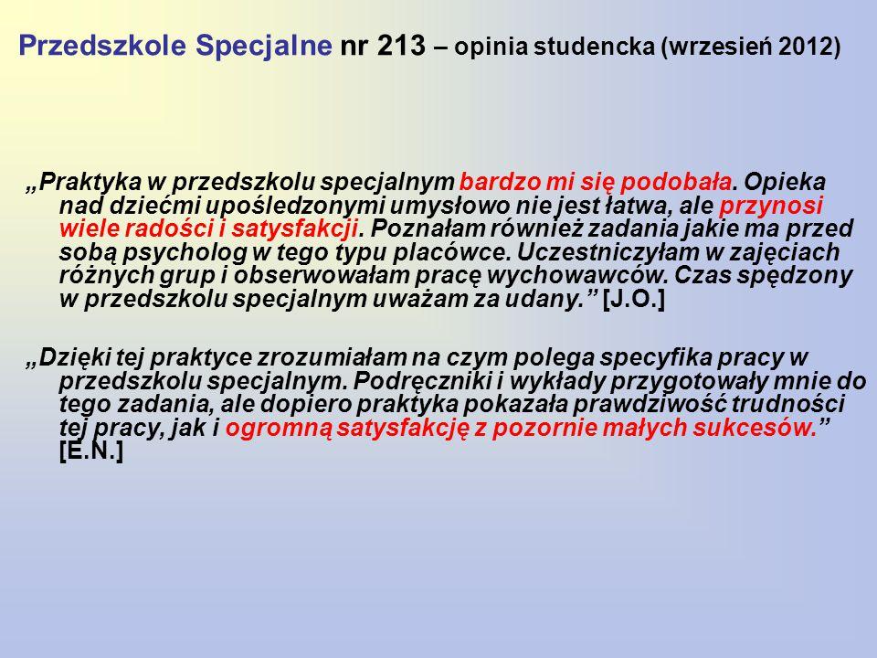 Przedszkole Specjalne nr 213 – opinia studencka (wrzesień 2012)