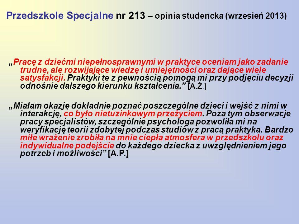 Przedszkole Specjalne nr 213 – opinia studencka (wrzesień 2013)