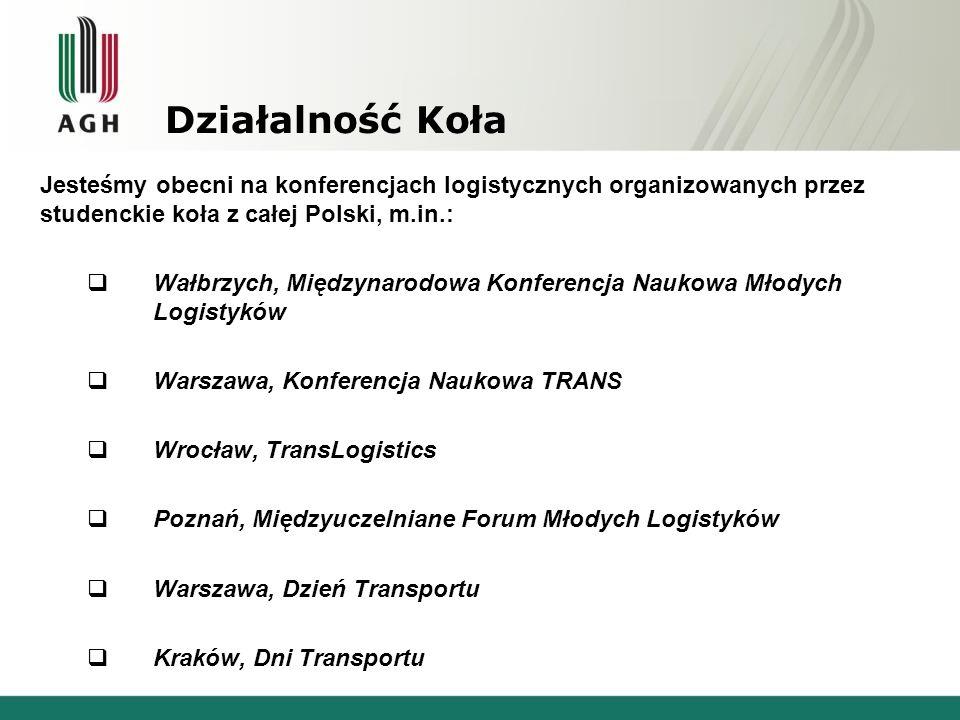 Działalność Koła Jesteśmy obecni na konferencjach logistycznych organizowanych przez studenckie koła z całej Polski, m.in.: