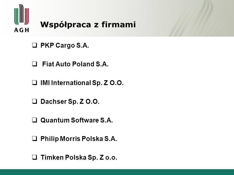 Współpraca z firmami PKP Cargo S.A. Fiat Auto Poland S.A.