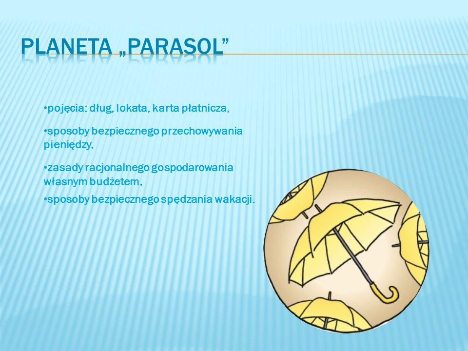 """Planeta """"parasol pojęcia: dług, lokata, karta płatnicza,"""