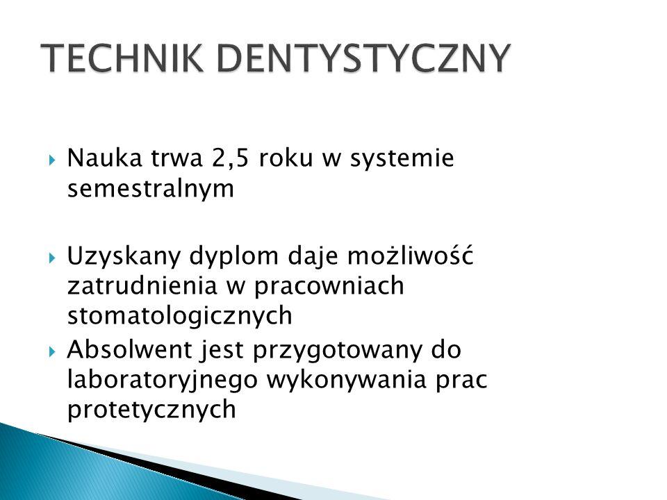 TECHNIK DENTYSTYCZNY Nauka trwa 2,5 roku w systemie semestralnym