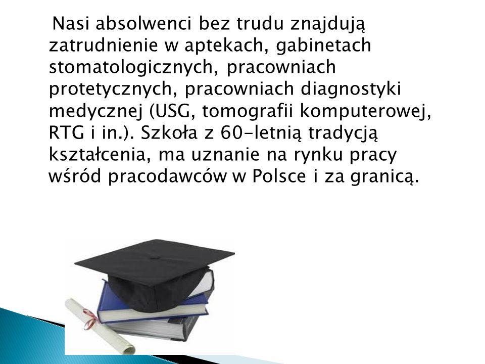 Nasi absolwenci bez trudu znajdują zatrudnienie w aptekach, gabinetach stomatologicznych, pracowniach protetycznych, pracowniach diagnostyki medycznej (USG, tomografii komputerowej, RTG i in.).