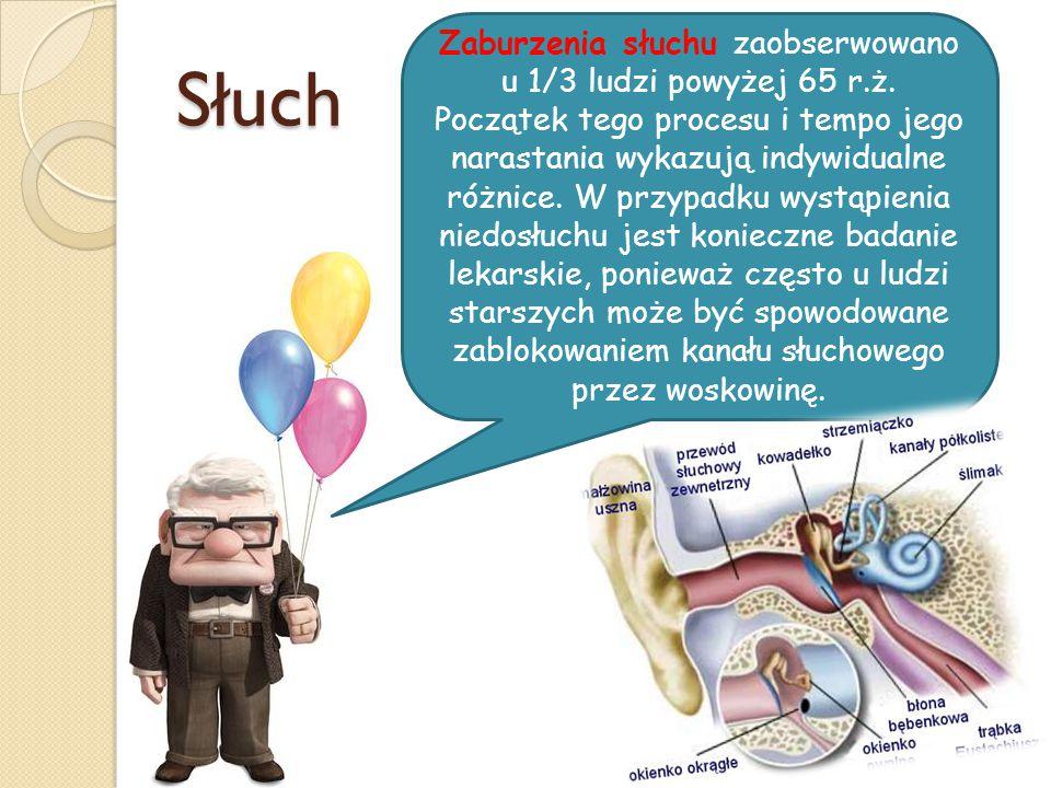Zaburzenia słuchu zaobserwowano u 1/3 ludzi powyżej 65 r. ż