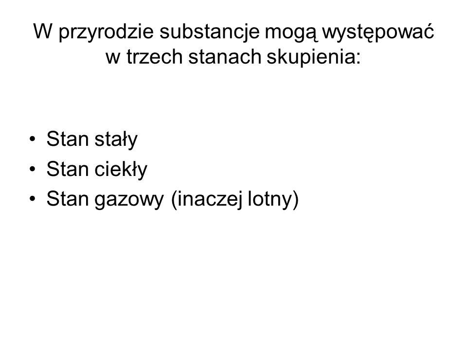 W przyrodzie substancje mogą występować w trzech stanach skupienia: