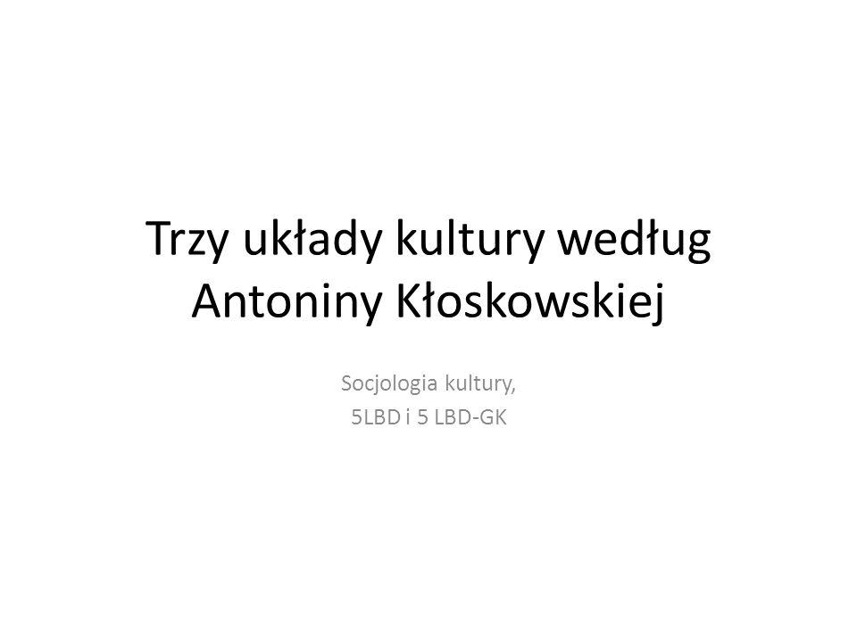 Trzy układy kultury według Antoniny Kłoskowskiej