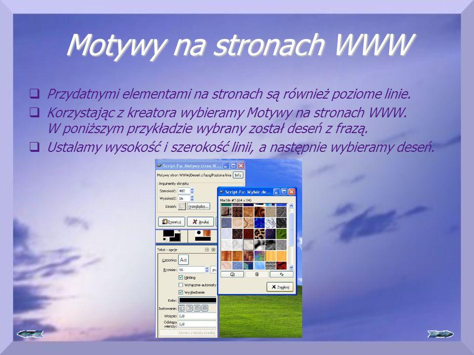 Motywy na stronach WWW Przydatnymi elementami na stronach są również poziome linie.