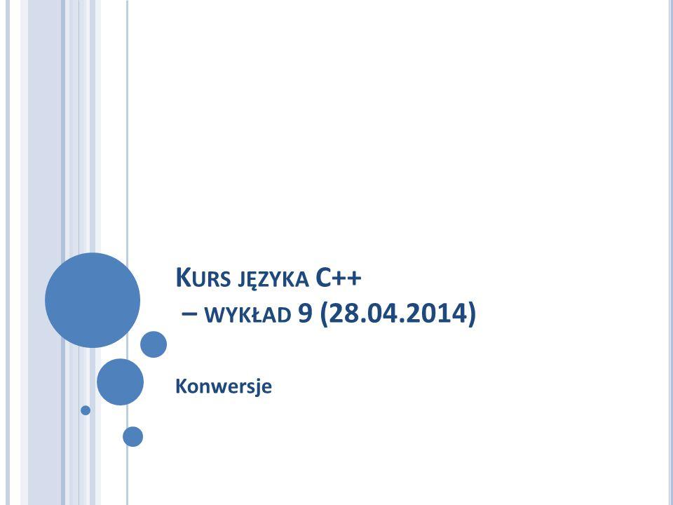 Kurs języka C++ – wykład 9 (28.04.2014)