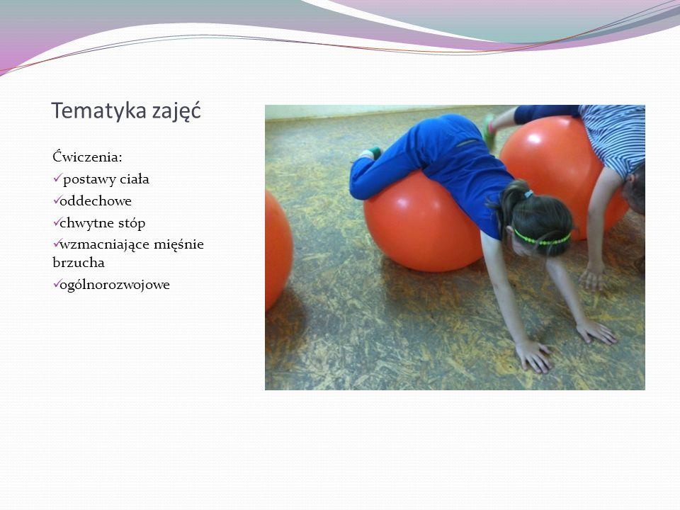 Tematyka zajęć Ćwiczenia: postawy ciała oddechowe chwytne stóp