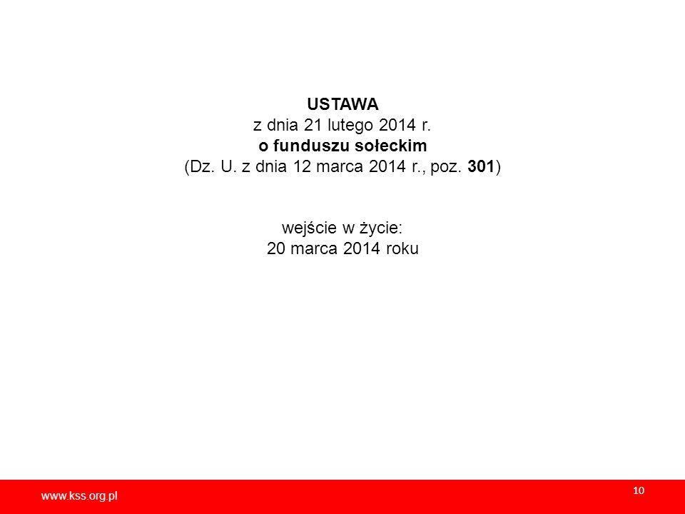 USTAWA z dnia 21 lutego 2014 r. o funduszu sołeckim