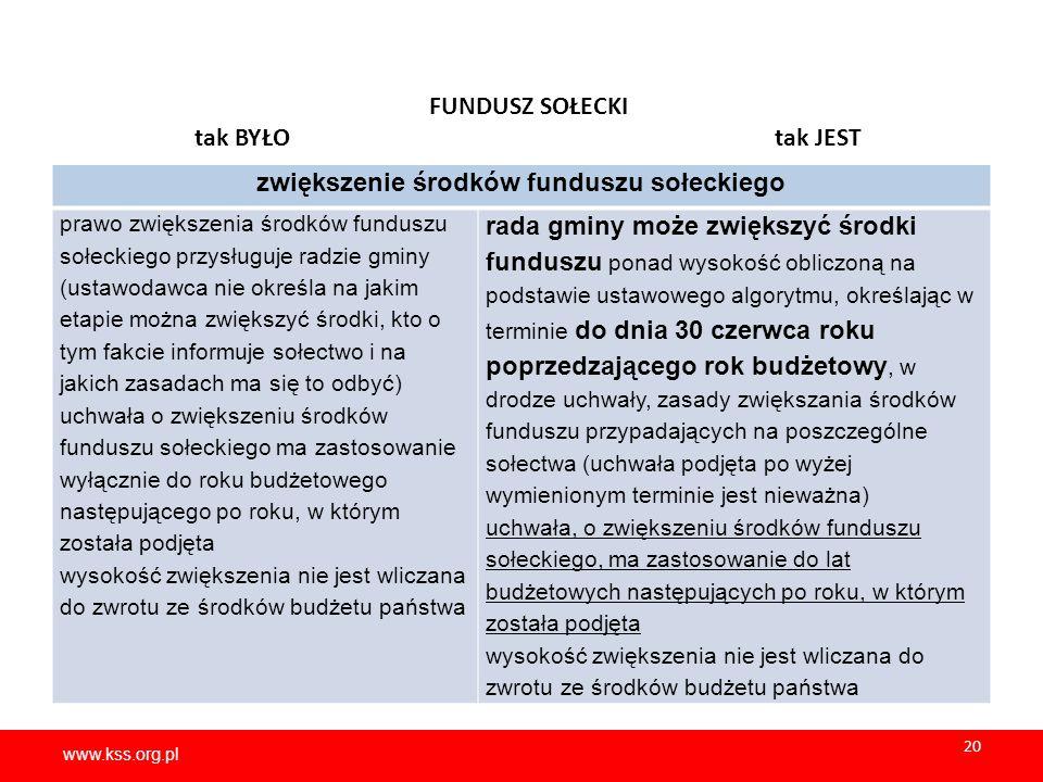 zwiększenie środków funduszu sołeckiego
