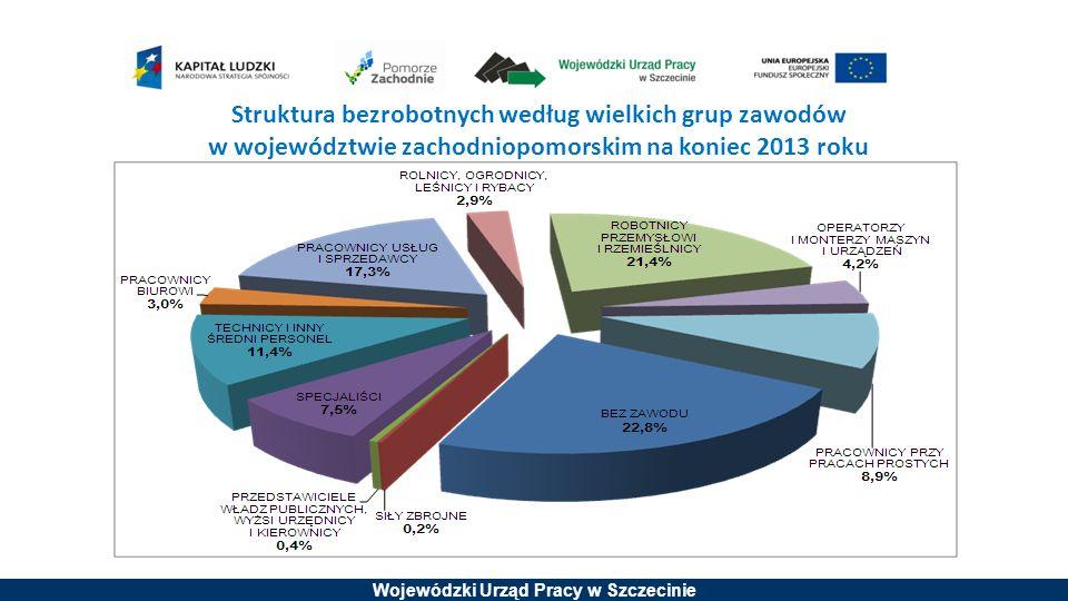 Struktura bezrobotnych według wielkich grup zawodów w województwie zachodniopomorskim na koniec 2013 roku