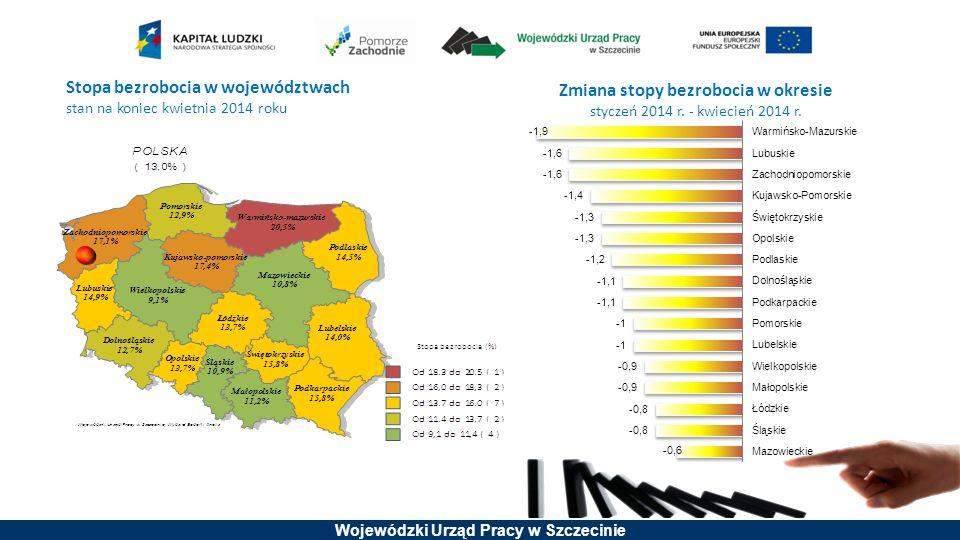Stopa bezrobocia w województwach stan na koniec kwietnia 2014 roku