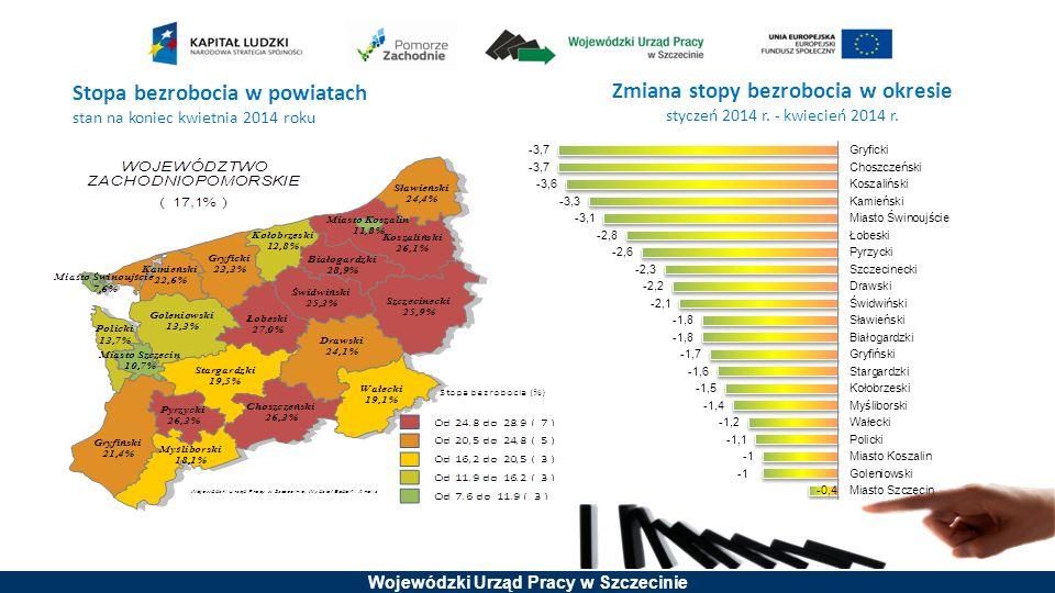 Stopa bezrobocia w powiatach
