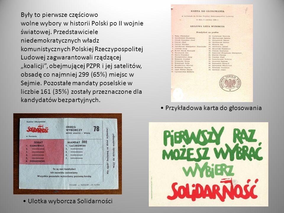 """Były to pierwsze częściowo wolne wybory w historii Polski po II wojnie światowej. Przedstawiciele niedemokratycznych władz komunistycznych Polskiej Rzeczypospolitej Ludowej zagwarantowali rządzącej """"koalicji , obejmującej PZPR i jej satelitów, obsadę co najmniej 299 (65%) miejsc w Sejmie. Pozostałe mandaty poselskie w liczbie 161 (35%) zostały przeznaczone dla kandydatów bezpartyjnych."""