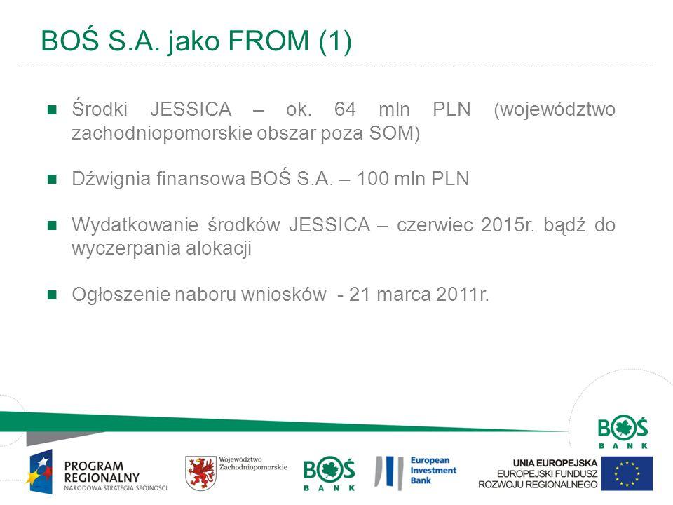 BOŚ S.A. jako FROM (1) Środki JESSICA – ok. 64 mln PLN (województwo zachodniopomorskie obszar poza SOM)