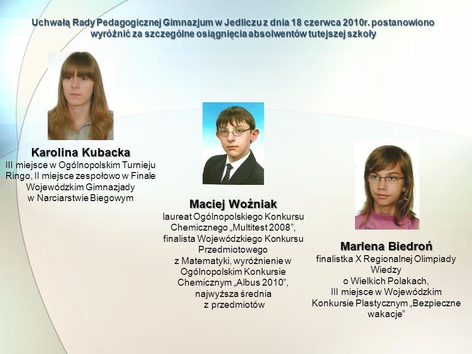 Karolina Kubacka Maciej Woźniak Marlena Biedroń