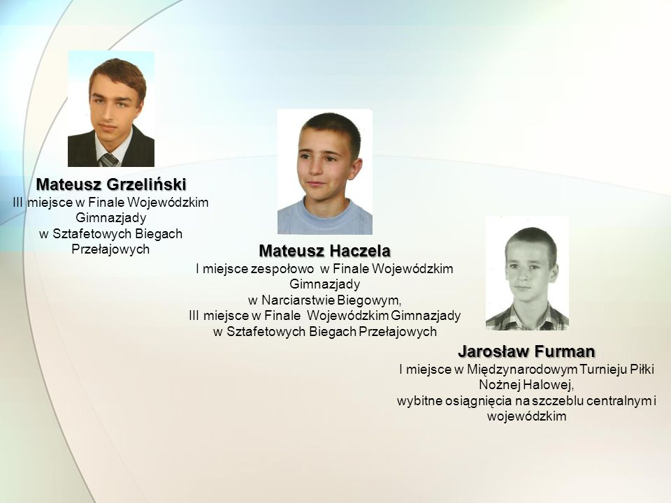 Mateusz Grzeliński Mateusz Haczela Jarosław Furman