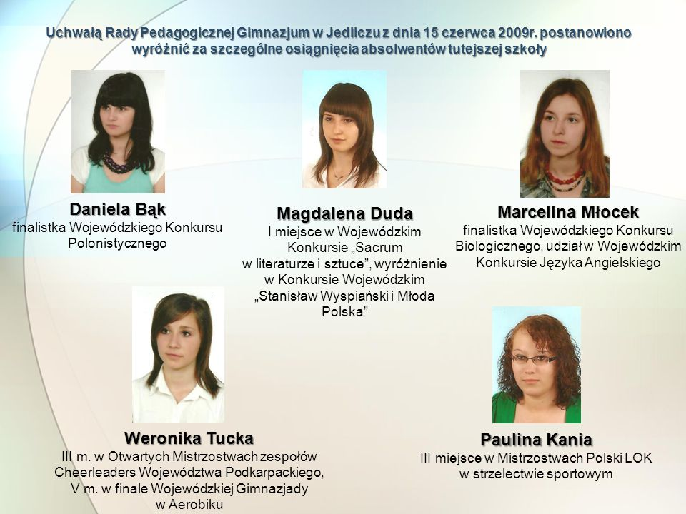 Daniela Bąk Magdalena Duda Marcelina Młocek Weronika Tucka