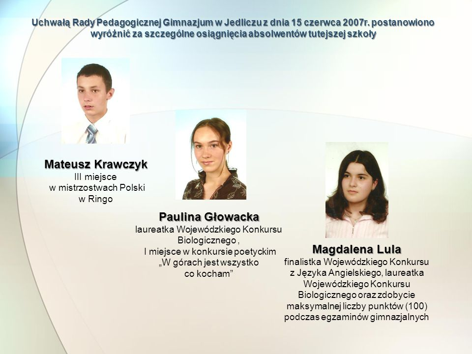 Mateusz Krawczyk Paulina Głowacka Magdalena Lula