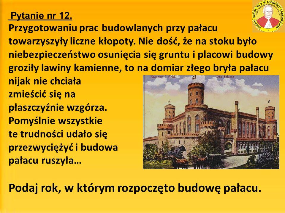 Podaj rok, w którym rozpoczęto budowę pałacu.