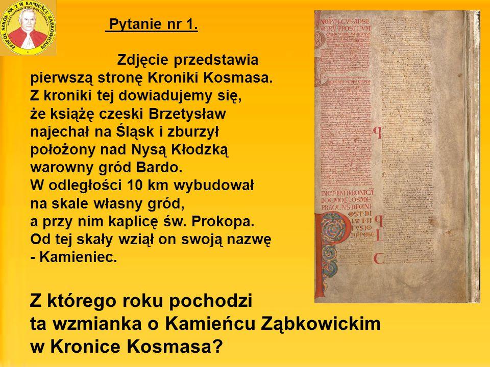 Z którego roku pochodzi ta wzmianka o Kamieńcu Ząbkowickim