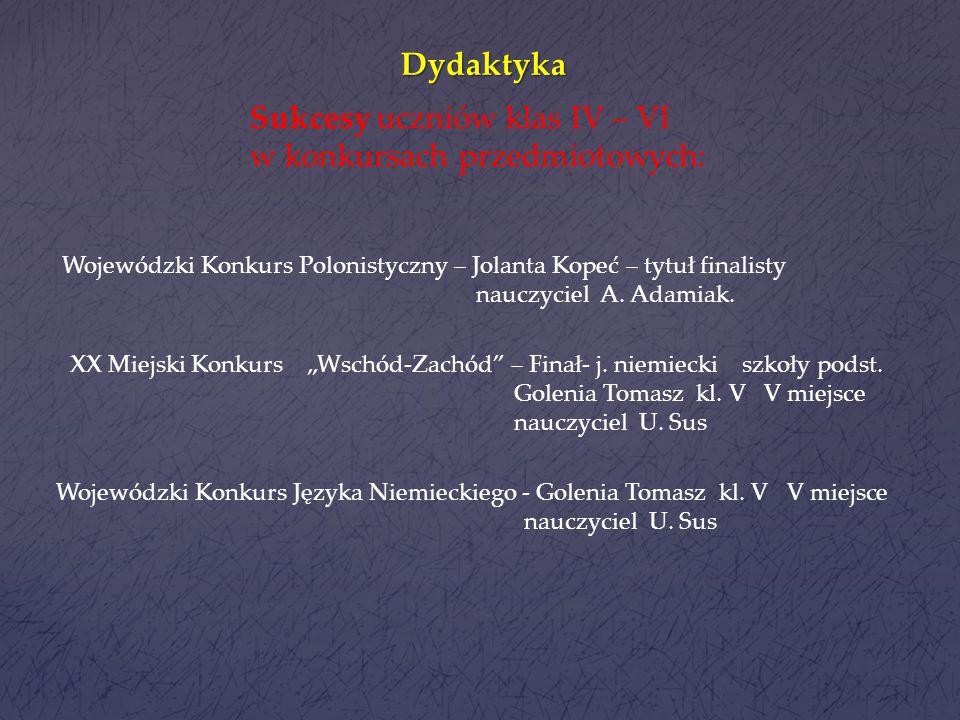 Sukcesy uczniów klas IV – VI w konkursach przedmiotowych: