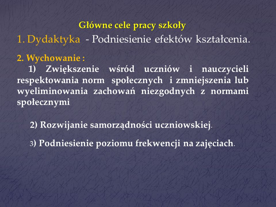 Główne cele pracy szkoły