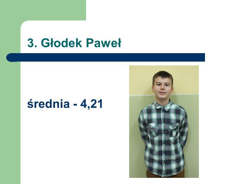 3. Głodek Paweł średnia - 4,21