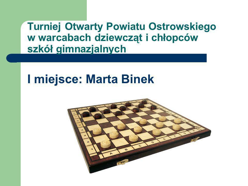 Turniej Otwarty Powiatu Ostrowskiego w warcabach dziewcząt i chłopców szkół gimnazjalnych