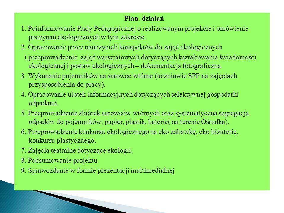 Plan działań 1. Poinformowanie Rady Pedagogicznej o realizowanym projekcie i omówienie poczynań ekologicznych w tym zakresie.