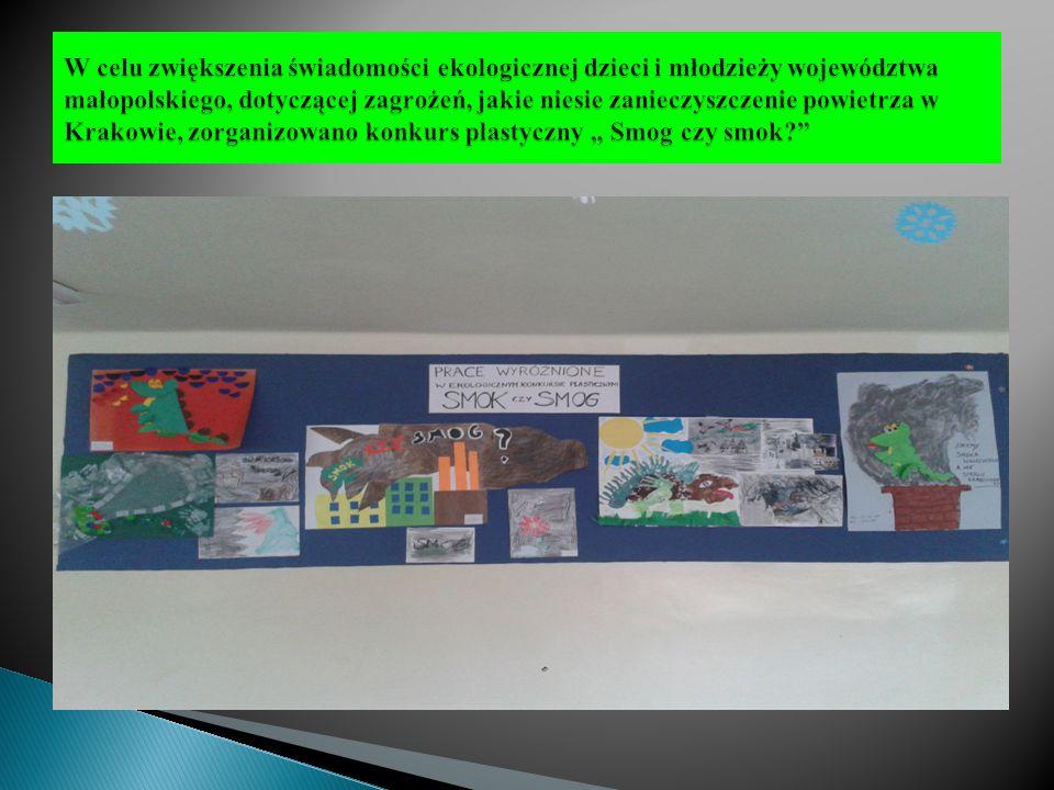 """W celu zwiększenia świadomości ekologicznej dzieci i młodzieży województwa małopolskiego, dotyczącej zagrożeń, jakie niesie zanieczyszczenie powietrza w Krakowie, zorganizowano konkurs plastyczny """" Smog czy smok"""