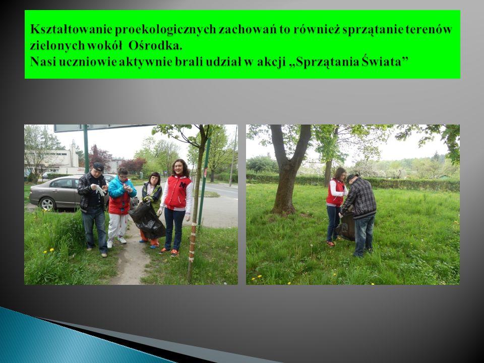 Kształtowanie proekologicznych zachowań to również sprzątanie terenów zielonych wokół Ośrodka.