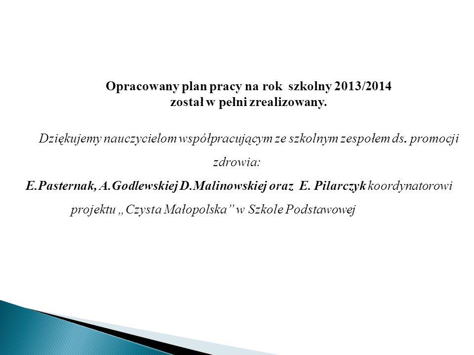 Opracowany plan pracy na rok szkolny 2013/2014