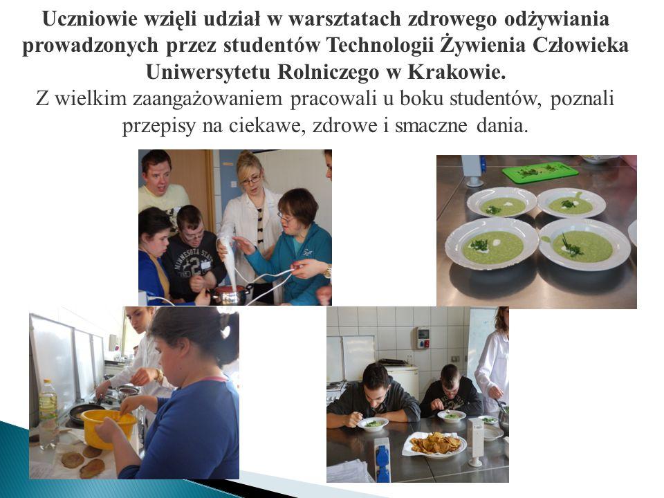 Uczniowie wzięli udział w warsztatach zdrowego odżywiania prowadzonych przez studentów Technologii Żywienia Człowieka Uniwersytetu Rolniczego w Krakowie.