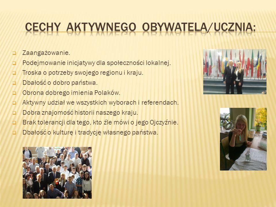Cechy aktywnego obywatela/ucznia: