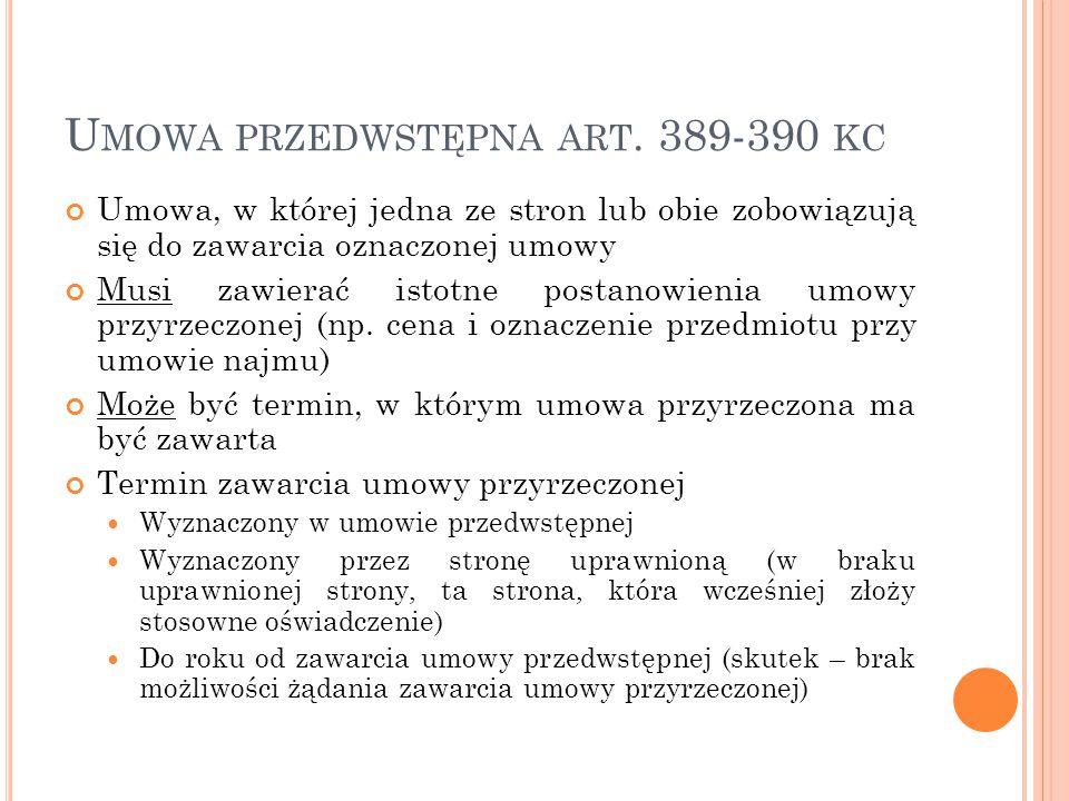 Umowa przedwstępna art. 389-390 kc