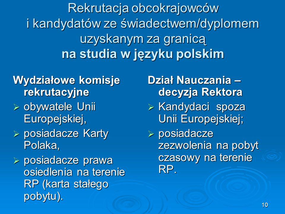 Rekrutacja obcokrajowców i kandydatów ze świadectwem/dyplomem uzyskanym za granicą na studia w języku polskim