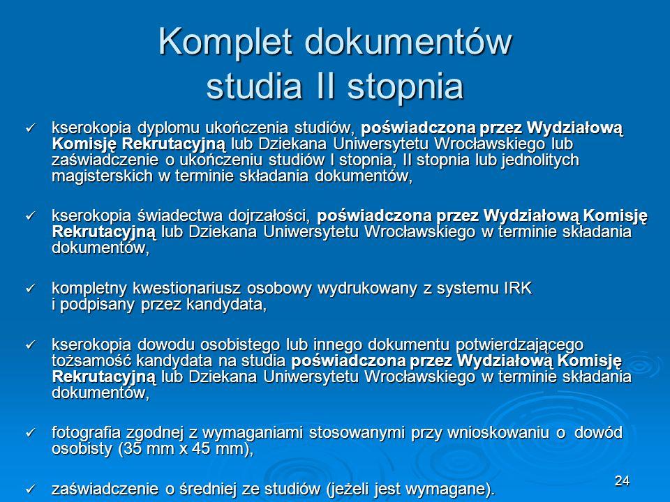 Komplet dokumentów studia II stopnia