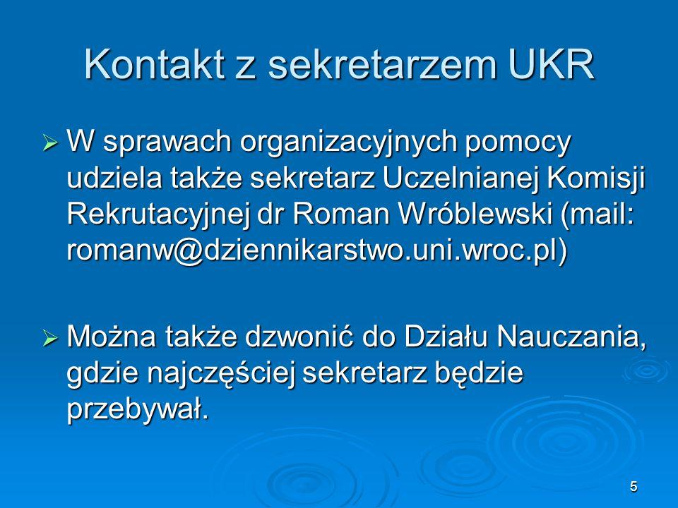 Kontakt z sekretarzem UKR