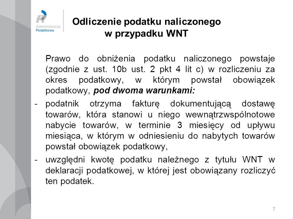 Odliczenie podatku naliczonego w przypadku WNT