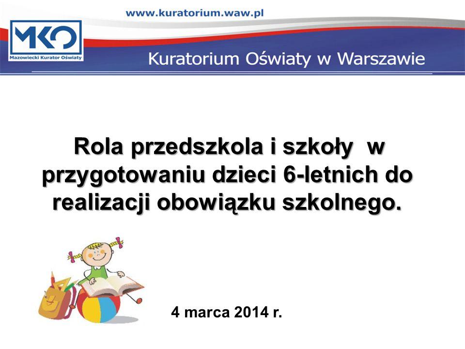 Rola przedszkola i szkoły w przygotowaniu dzieci 6-letnich do realizacji obowiązku szkolnego.