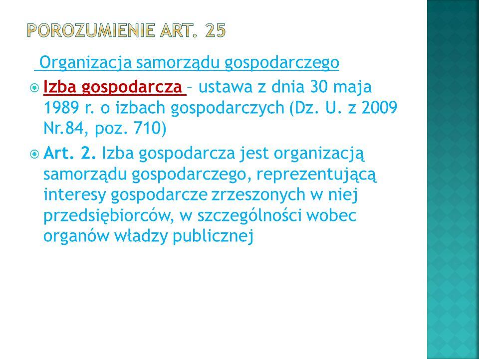 Porozumienie art. 25 Organizacja samorządu gospodarczego