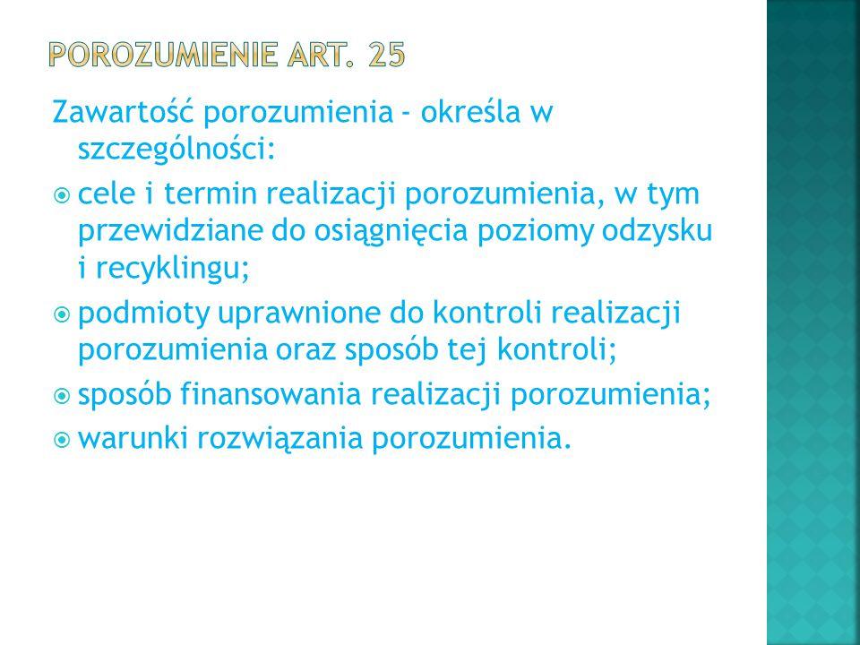 Porozumienie art. 25 Zawartość porozumienia - określa w szczególności: