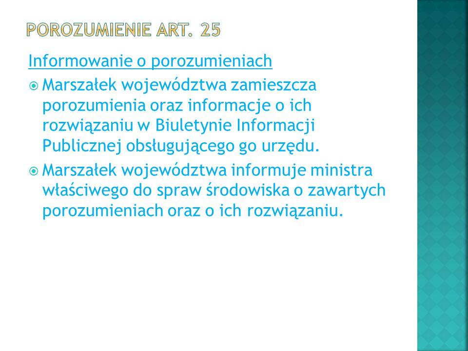 Porozumienie art. 25 Informowanie o porozumieniach