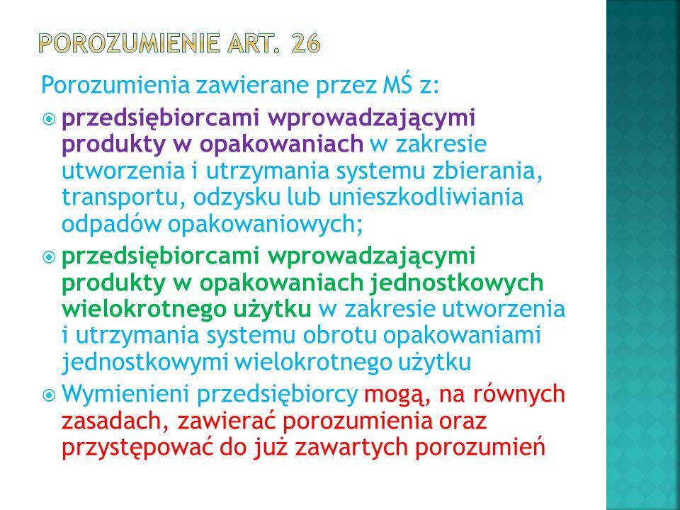Porozumienie art. 26 Porozumienia zawierane przez MŚ z: