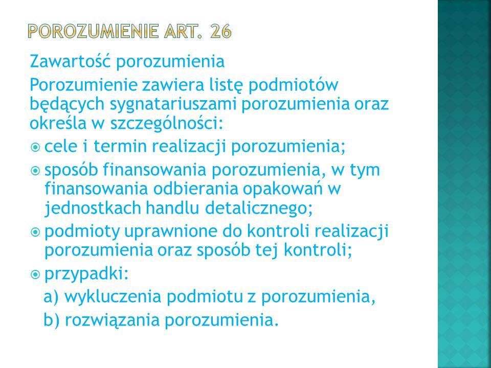 Porozumienie art. 26 Zawartość porozumienia