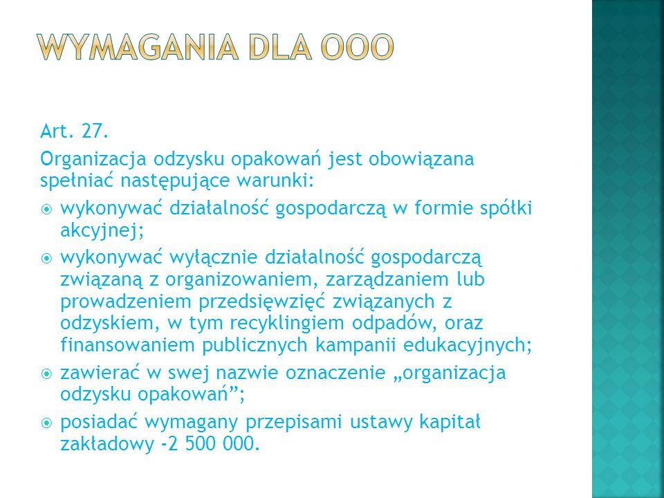 Wymagania dla OOO Art. 27. Organizacja odzysku opakowań jest obowiązana spełniać następujące warunki: