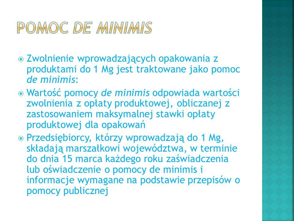 Pomoc de minimis Zwolnienie wprowadzających opakowania z produktami do 1 Mg jest traktowane jako pomoc de minimis: