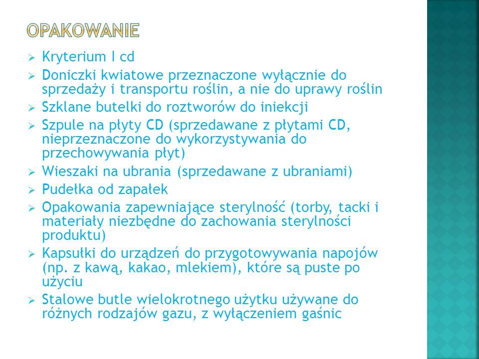 Opakowanie Kryterium I cd